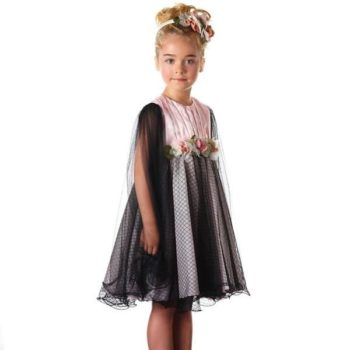 GRACI PINK & BLACK LACE DRESS WITH TULLE SLEEVES