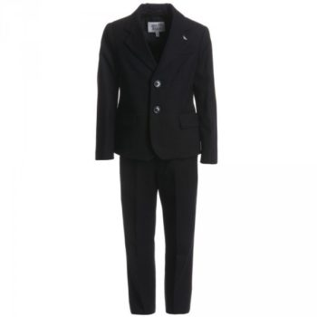 ARMANI JUNIOR Boys Navy Blue Pinstripe Wool Suit