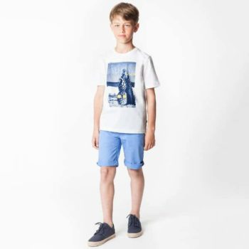 BOSS White Surf Pineapple T-Shirt and Blue Shorts for Spring Summer 2018