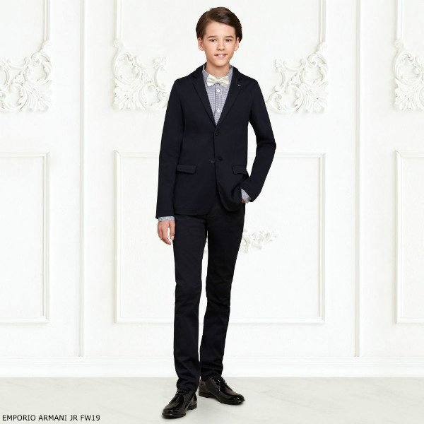 EMPORIO ARMANI Boys Navy Blue Cotton Suit Check Shirt
