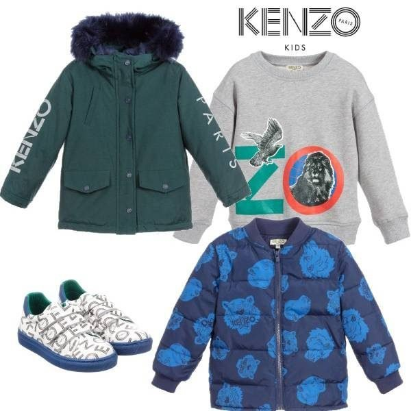 Kenzo Kids Blue & Green 2 in 1 Parka Coat Grey Sweatshirt
