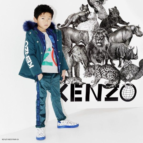 Kenzo Kids Blue & Green Parka Coat