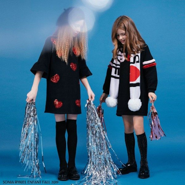 Sonia Rykiel Paris Girls Black Red Sequin Hearts Dress