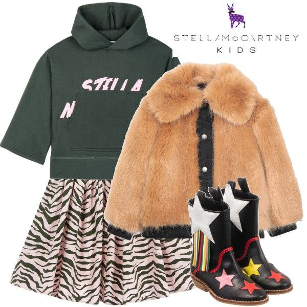 Stella McCartney Kids Pink Zebra Cotton Skirt Green Sweatshirt
