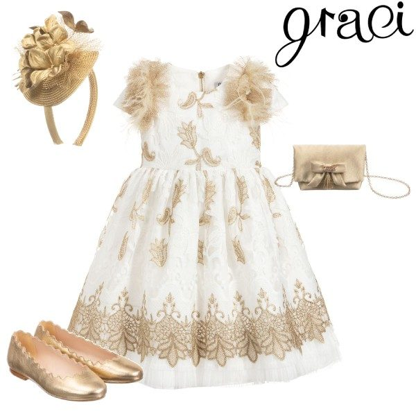 Graci Little Girl Ivory Gold Flower Feather Tulle Party Dress Outfit